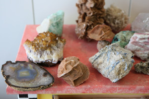 Various gems, stones and calcium formations are shown in the studio of Dorit Schwartz, March 10. (Ronda Churchill/View)