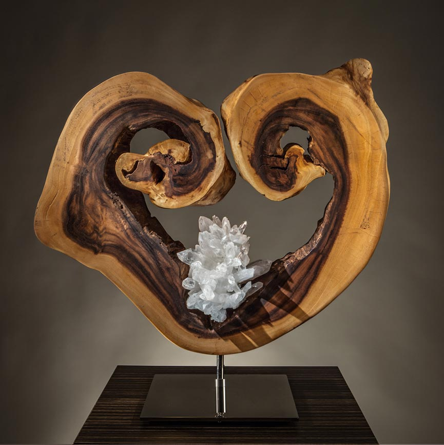 Divine Soul Crystal Wood Sculpture Dorit Schwartz