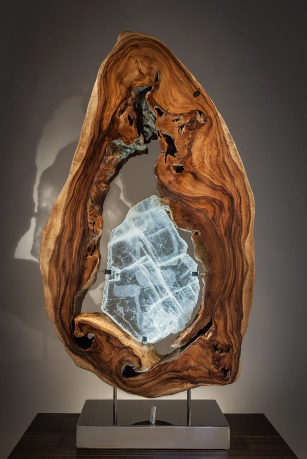 Sharing the Flame Crystal Wood Sculpture Dorit Schwartz
