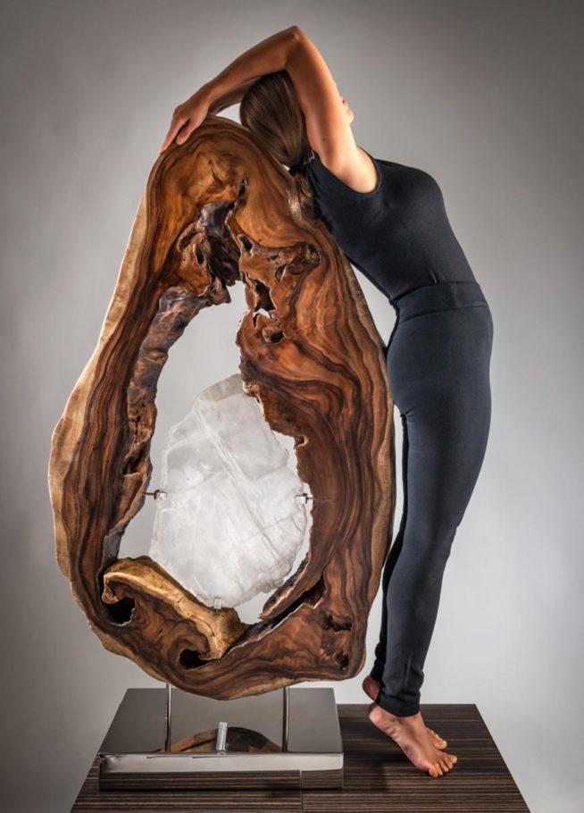Sharing the Flame Crystal Wood Sculpture Dorit Schwartz