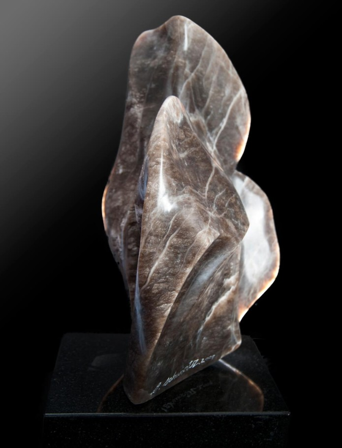 Against the Wind - Brown & White Alabaster Sculpture by Dorit Schwartz