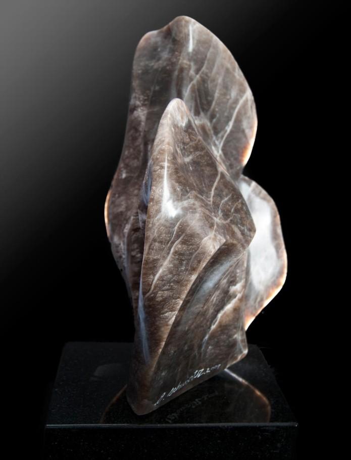 Against the Wind - Brown & White Alabaster Sculpture by Dorit Schwartz