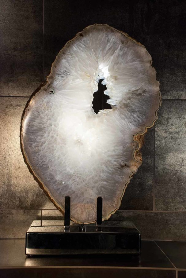 Angel Wing - Agate Stone, High-Polished Stainless Steel, Light Sculpture by Dorit Schwartz