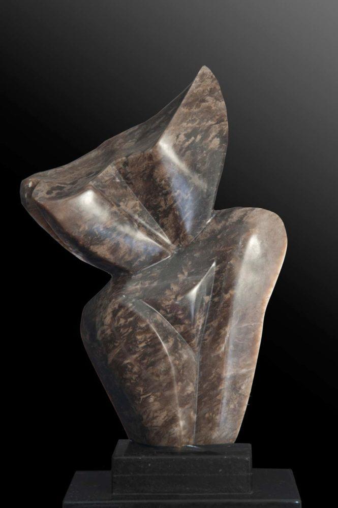 Curves - Brown Alabaster Sculpture by Dorit Schwartz