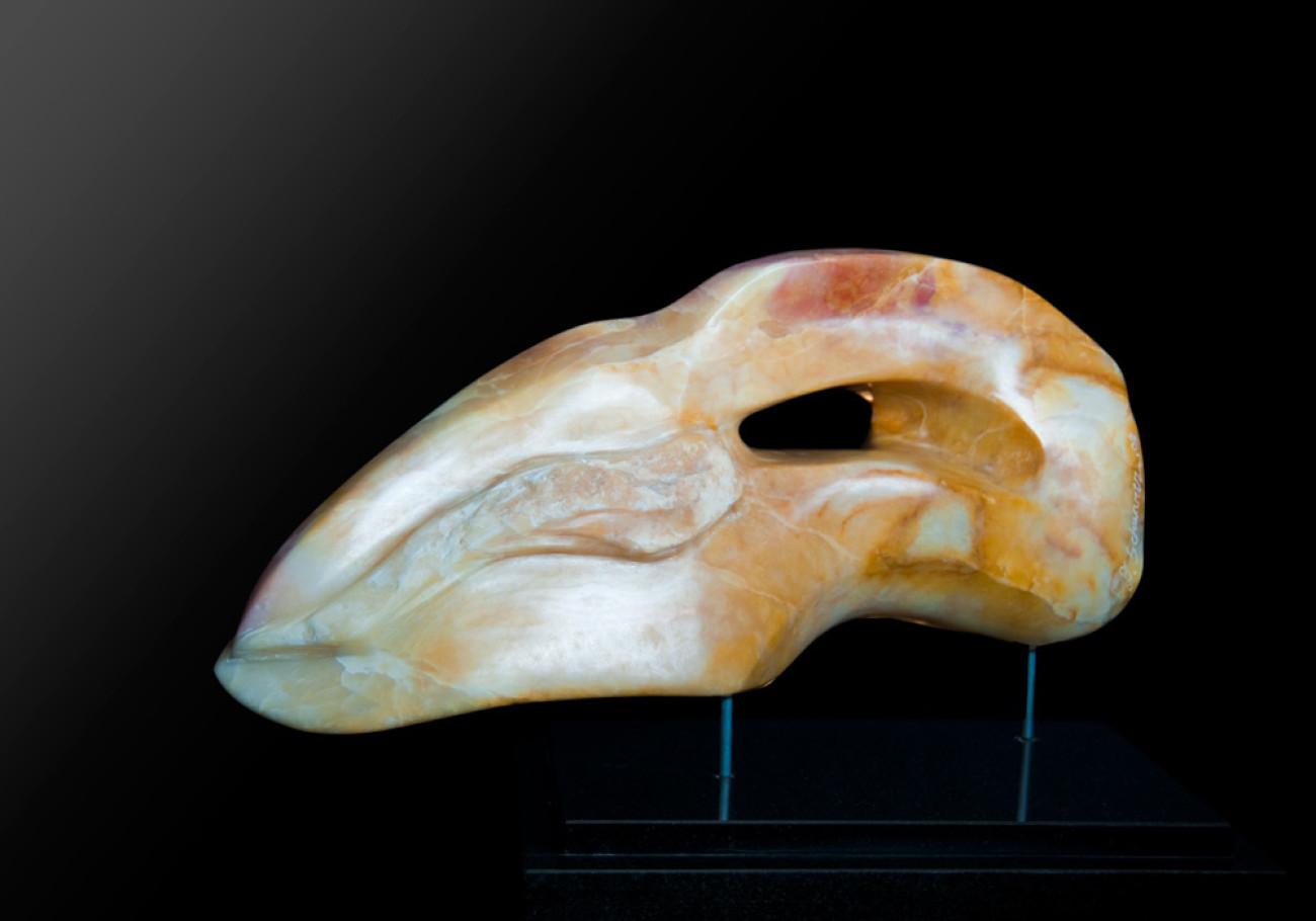 Evolution - Yellow & White Alabaster Sculpture by Dorit Schwartz