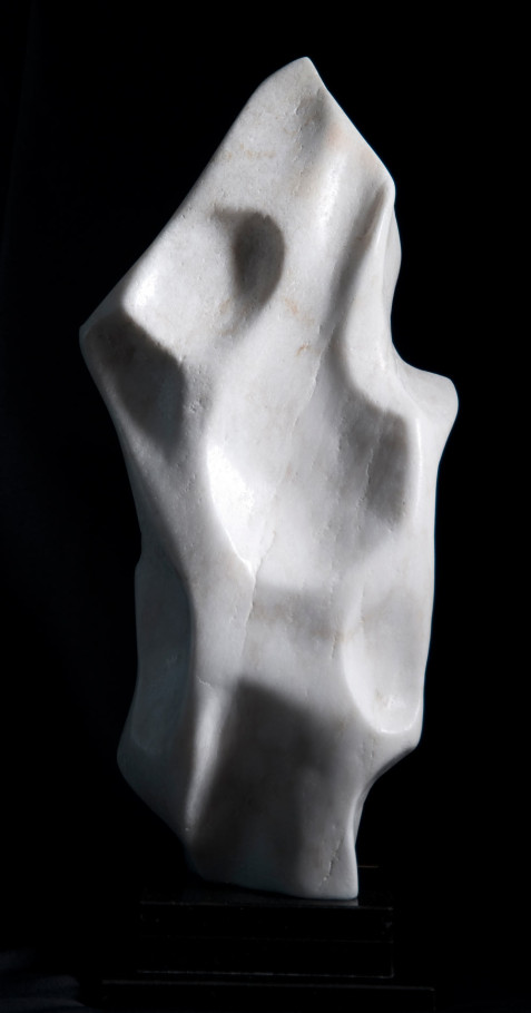 Flame Within - White Alabaster Sculpture by Dorit Schwartz