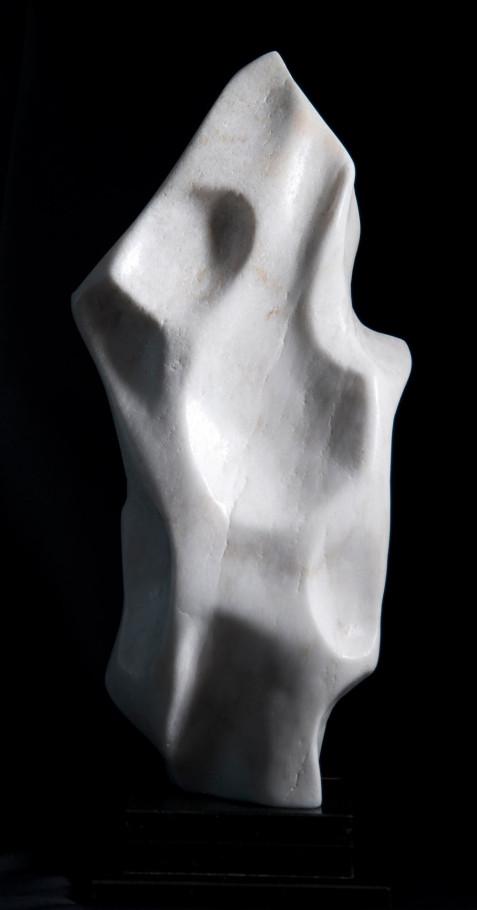 Flame Within - White Alabaster Sculpture by Dorit Schwartz
