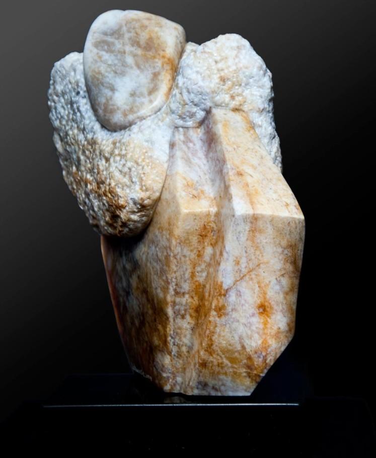 Hanging On - Yellow & White Alabaster Sculpture by Dorit Schwartz
