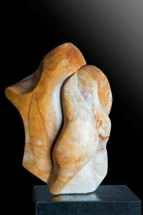 Harmony - Yellow & White Alabaster Sculpture by Dorit Schwartz