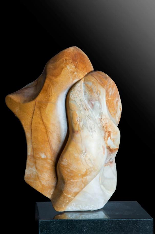 Harmony - Yellow & White Alabaster Sculpture by Dorit Schwartz