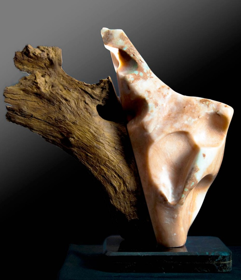 In Unison - Alabaster, Makha Wood Sculpture by Dorit Schwartz