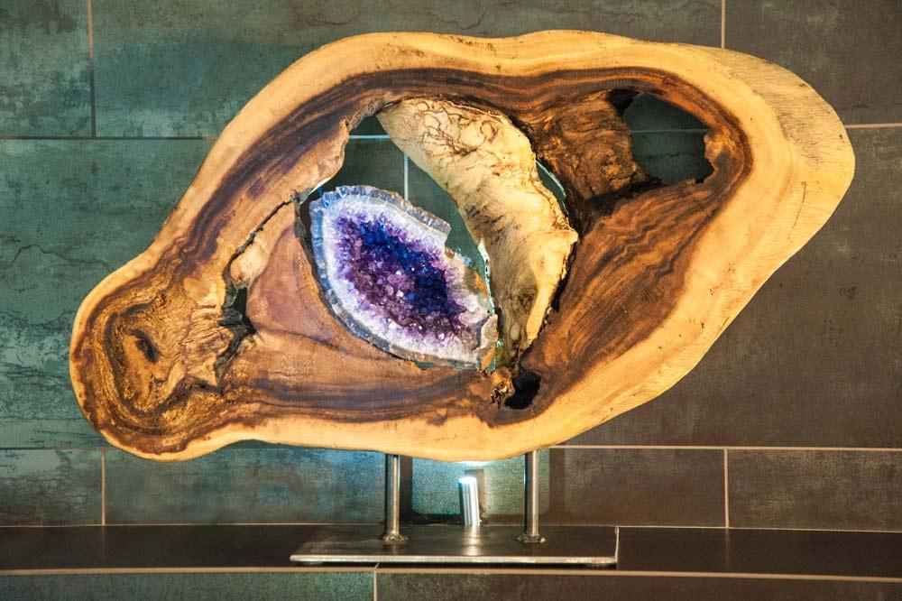 Inner Balance - Acacia Wood, Amethyst Geode, Steel Sculpture by Dorit Schwartz