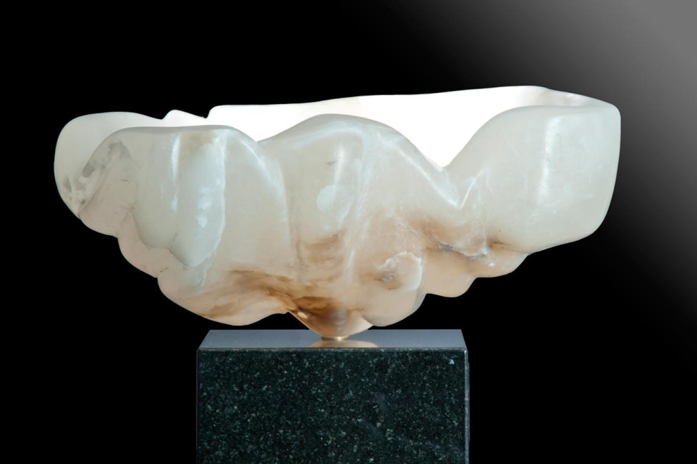 Inspiration of Love - White, Translucent Alabaster Sculpture by Dorit Schwartz