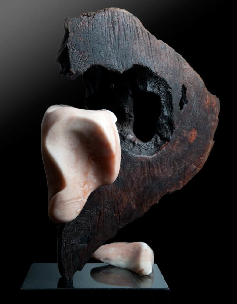 Letting Go - Alabaster, Makha Wood Sculpture by Dorit Schwartz