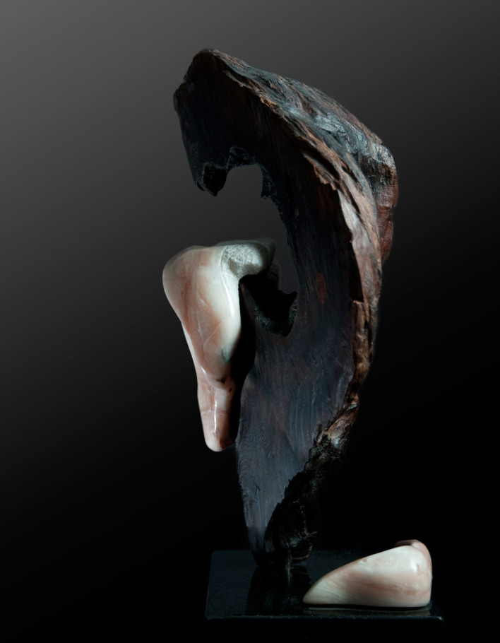 Letting Go - Alabaster, Makha Wood Sculpture by Dorit Schwartz