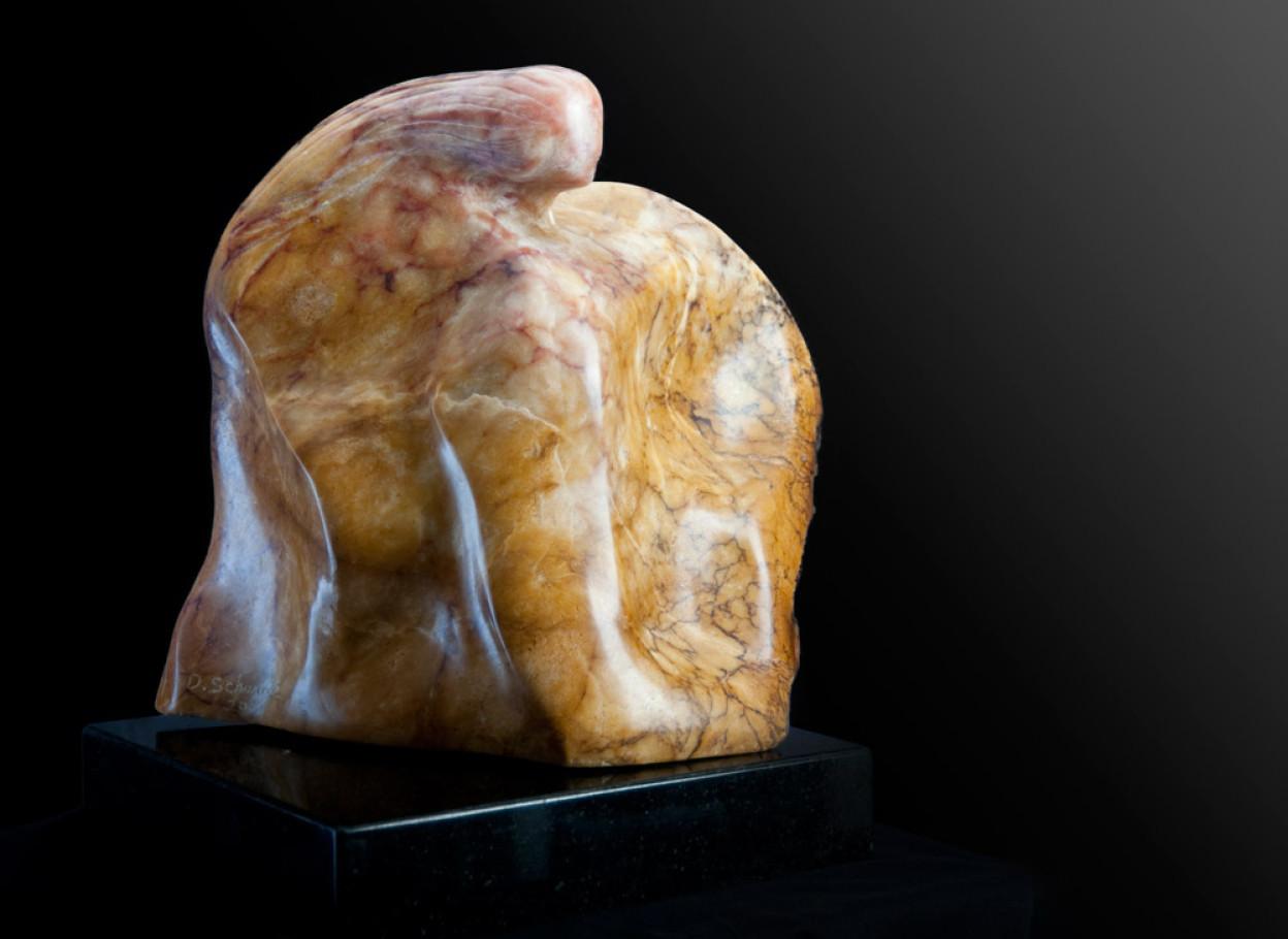 Mother Earth - Yellow & White Alabaster Sculpture by Dorit Schwartz