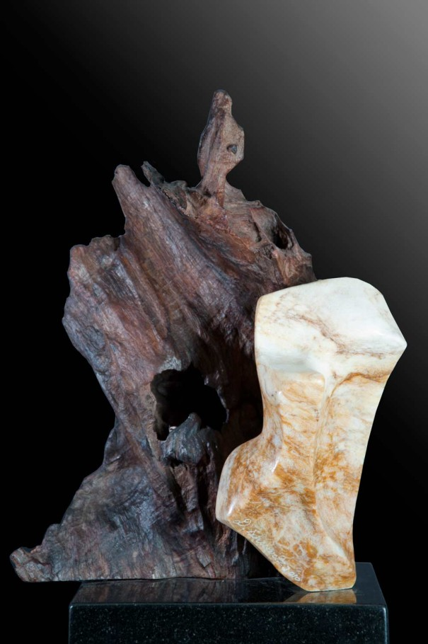 Power of the Elements - Alabaster, Makha Wood Scultpure by Dorit Schwartz