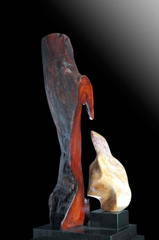 Safety Nest - Red Wood, Alabaster Sculpture by Dorit Schwartz
