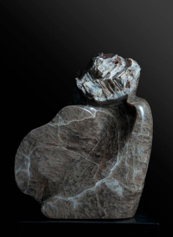 Transformation - Brown Alabaster Sculpture by Dorit Schwartz