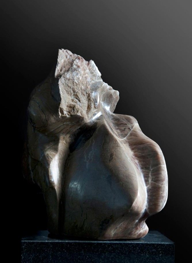 Transformation - Brown Alabaster Sculpture by Dorit Schwartz