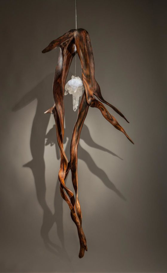 When Lovers Dance, Indonesian Rosewood, Quartz Crystal, Light 72in x 30 in by Dorit Schwartz