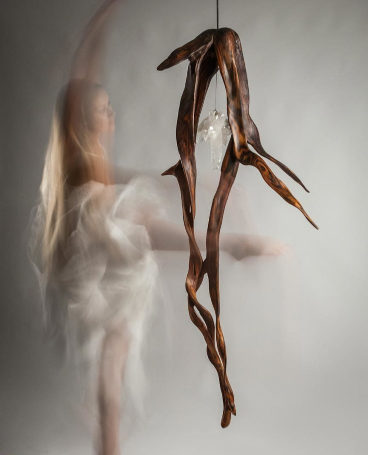 When Lovers Dance, Indonesian Rosewood, Quartz Crystal, Light 72in x 30 in by Dorit Schwartz