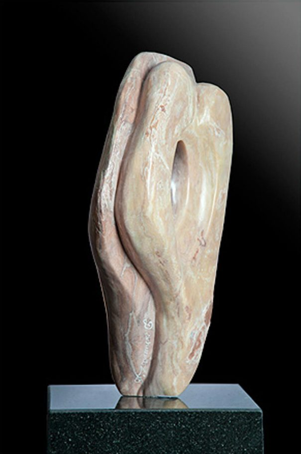 Affair of the Heart - Cream Alabaster Sculpture by Dorit Schwartz