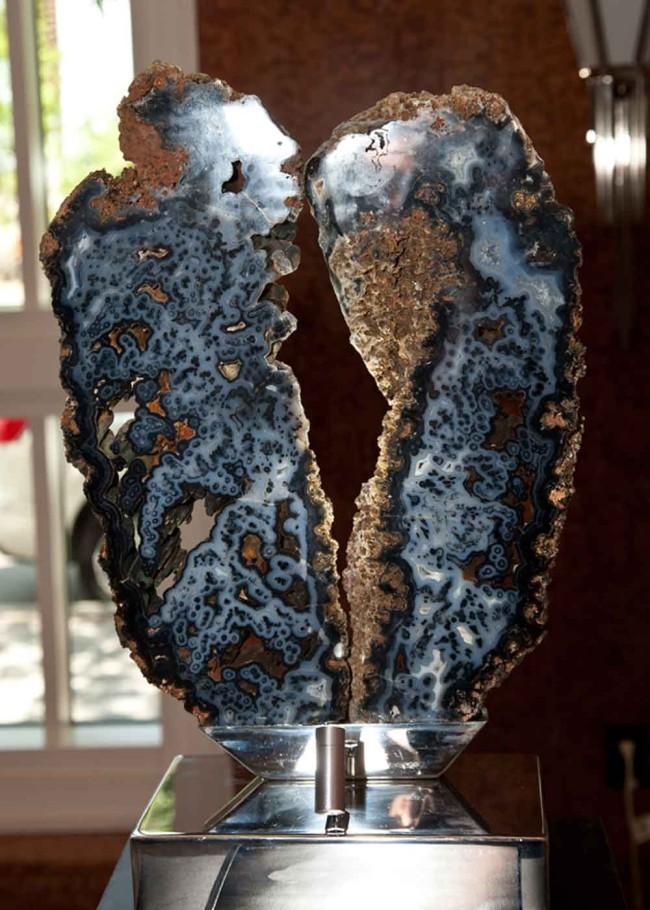 Blue Heart - Blue Brazilian Agate, Stainless Steel Sculpture by Dorit Schwartz