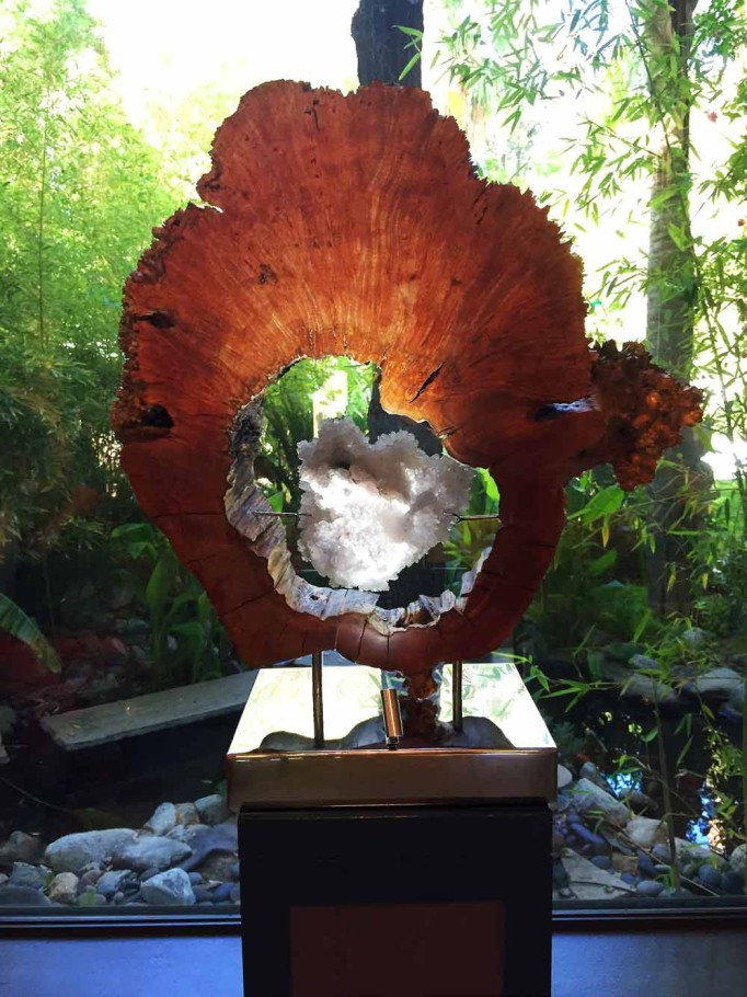 Fleur de Lis - Flowering Amethyst, Burl Maple Wood, Stainless Steel, Lights Sculpture by Dorit Schwartz