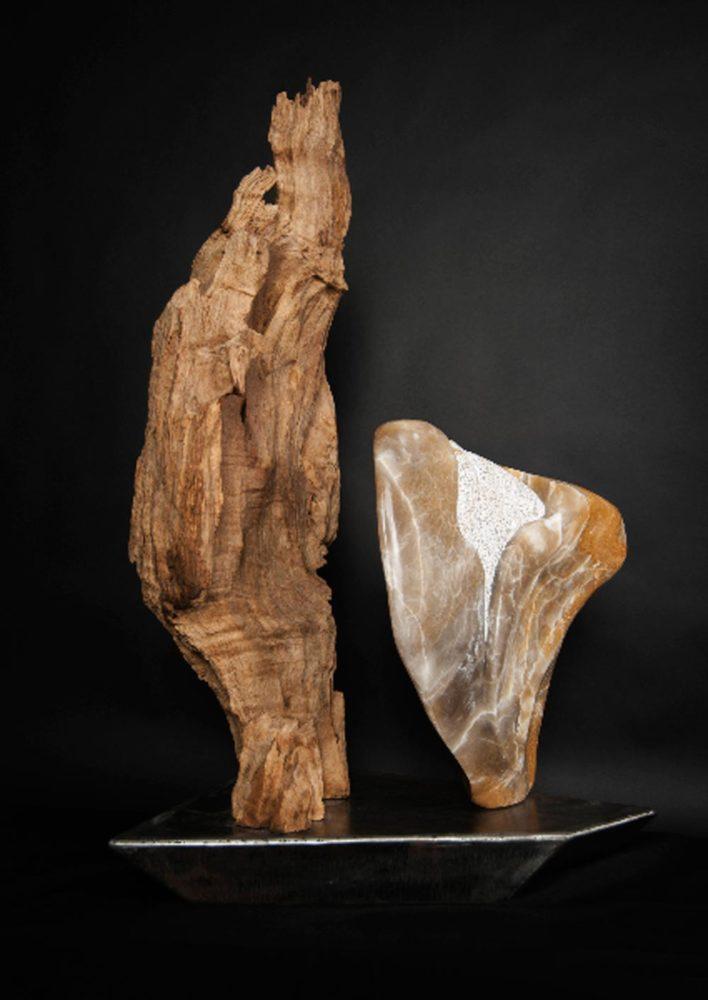 Guardian Angels - Alabaster, Teak Wood Sculpture by Dorit Schwartz
