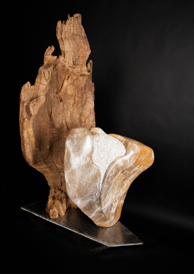 Guardian Angels - Alabaster, Teak Wood Sculpture by Dorit Schwartz