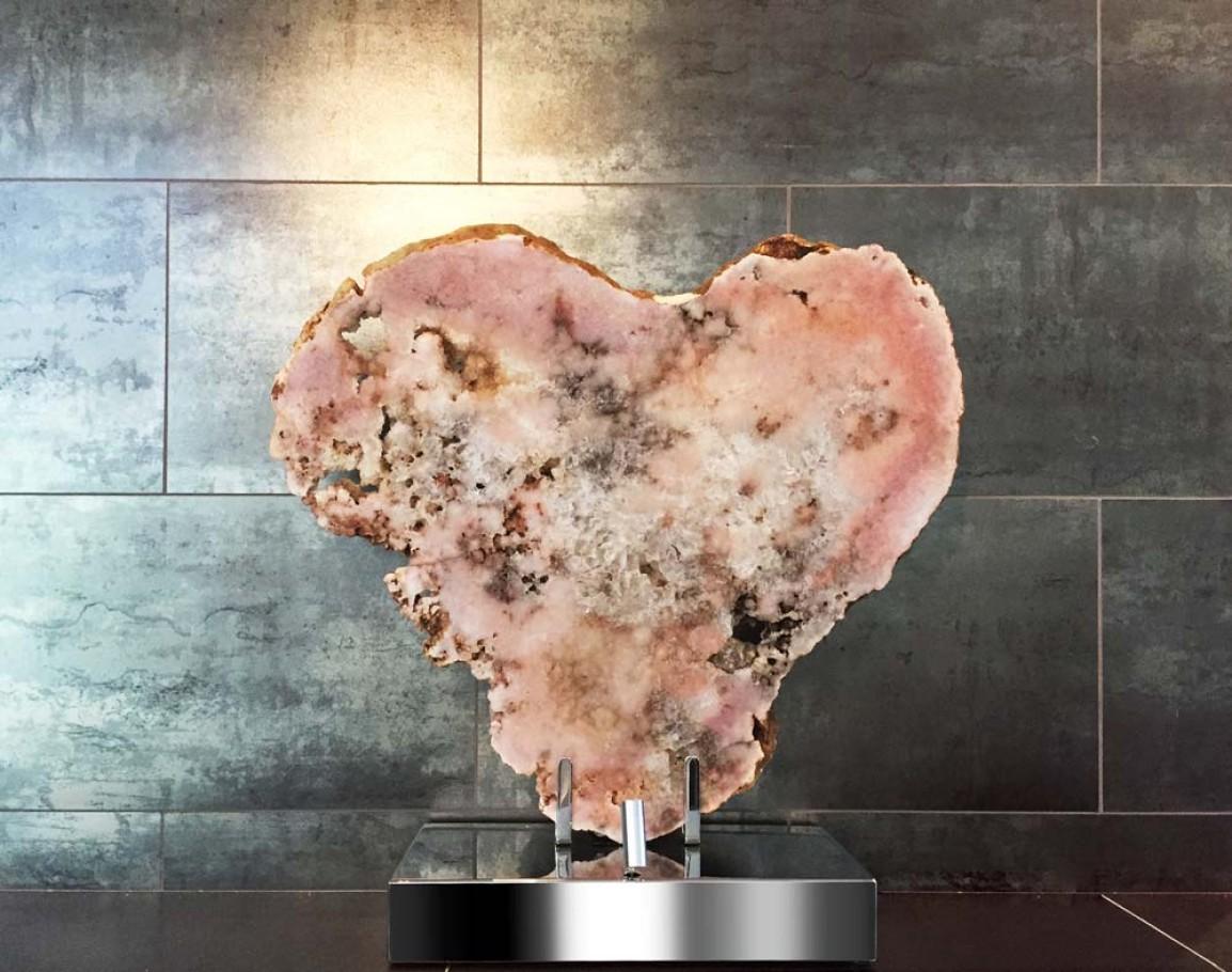 Heart - Pink Brazilian Agate, Stainless Steel, Lights Sculpture by Dorit Schwartz