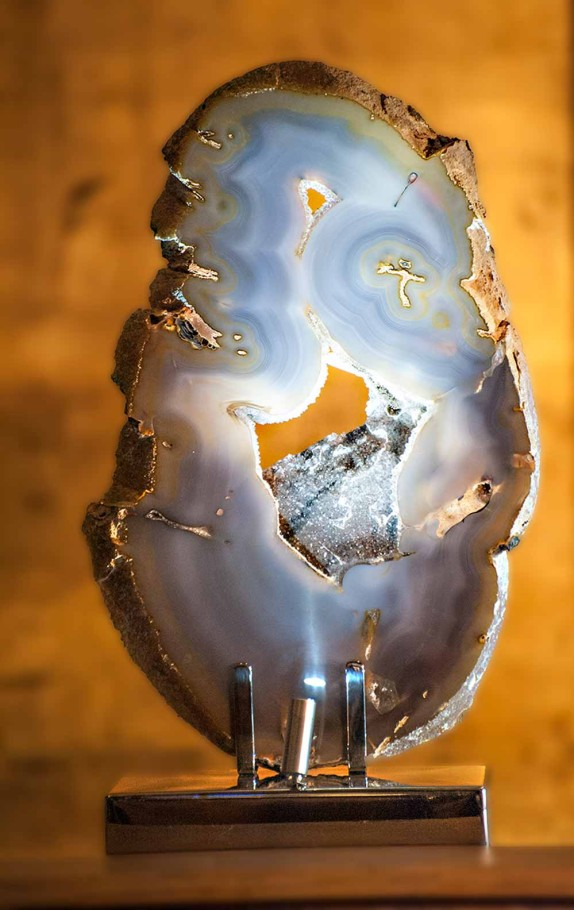 Heightened Consciousness - Brazilian Agate, Stainless Steel, Lights Sculpture by Dorit Schwartz