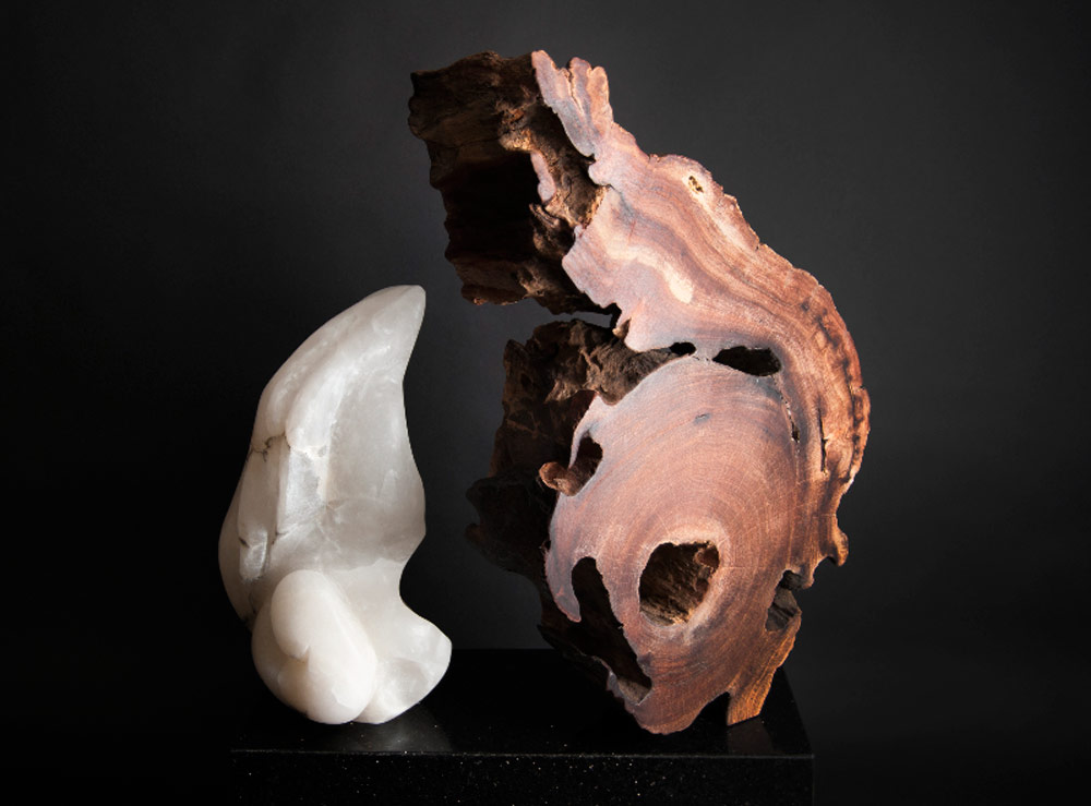 Nature Womb - Alabaster, Red Wood Sculpture by Dorit Schwartz