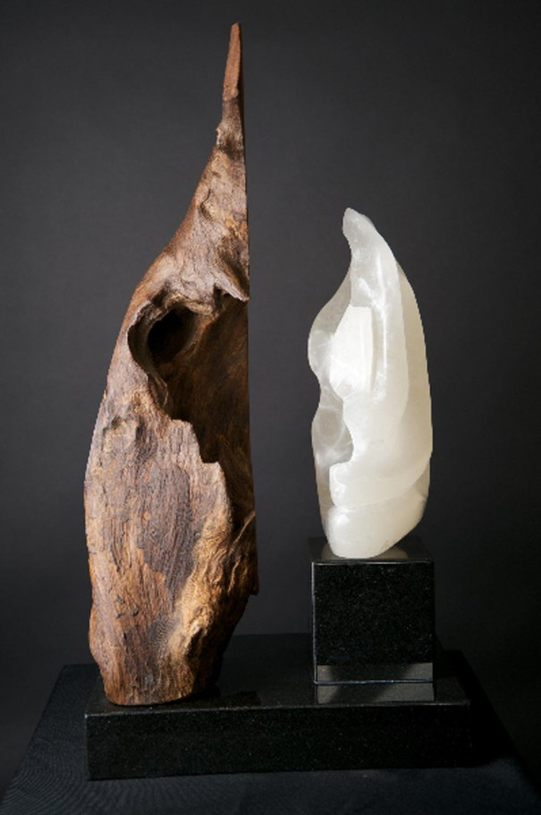 Peak Conception - Alabaster, Makha Wood Sculpture by Dorit Sculpture