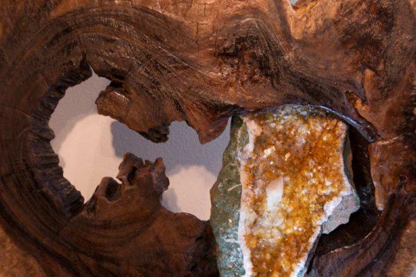 Rising Sun - close-up - Citrine Crystal, Acacia Wood Sculpture by Dorit Schwartz