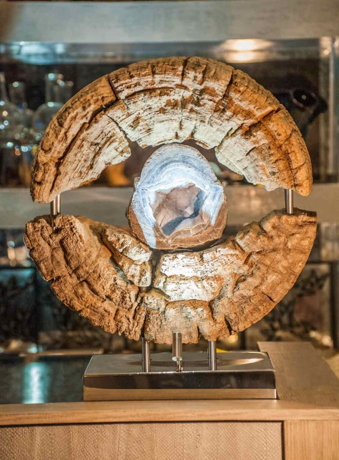 Shades of Light - Rhyolite Geode, Reclaimed Mortar Wood, Stainless Steel, Lights Sculpture by Dorit Schwartz