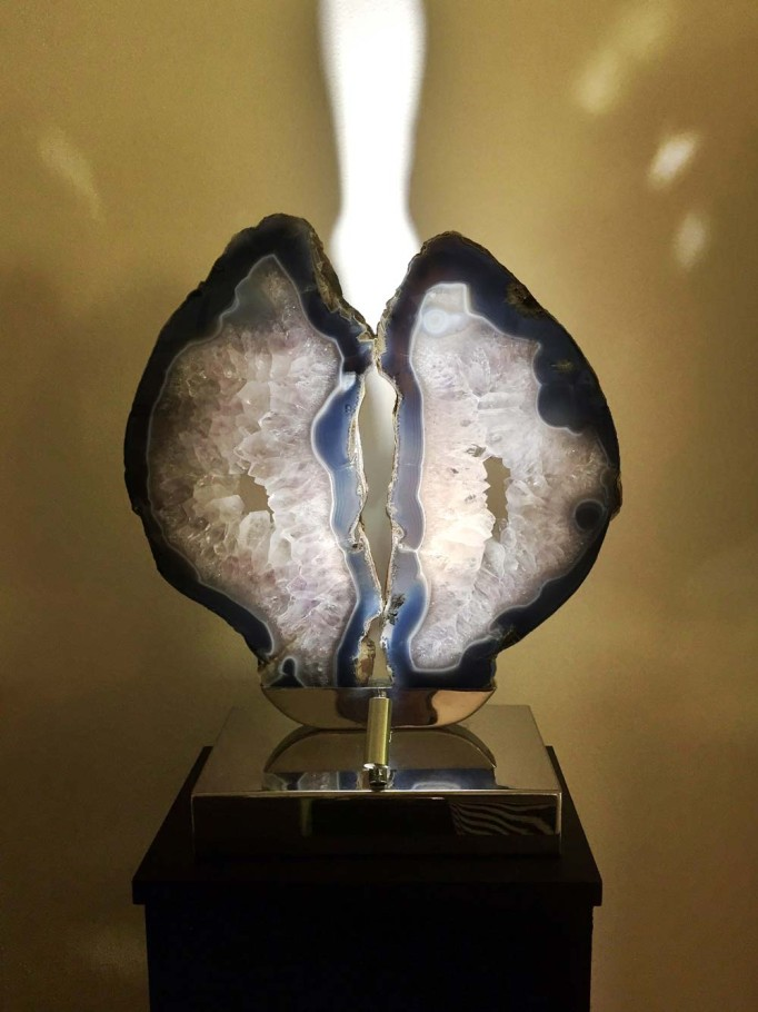 Silver Lining - Purple Brazilian Agate, Stainless Steel, Lights Sculpture by Dorit Schwartz