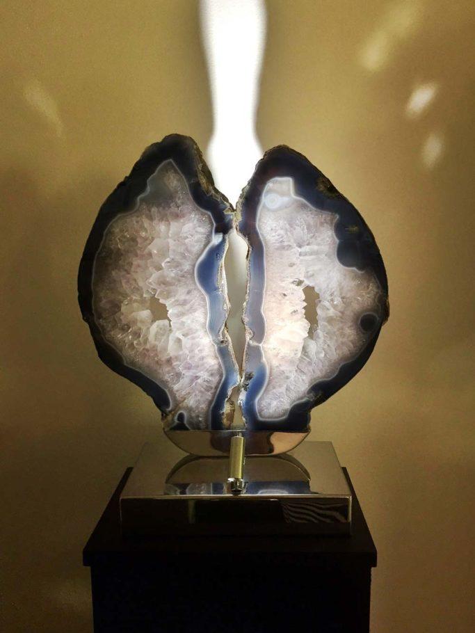 Silver Lining - Purple Brazilian Agate, Stainless Steel, LightsSculpture by Dorit Schwartz