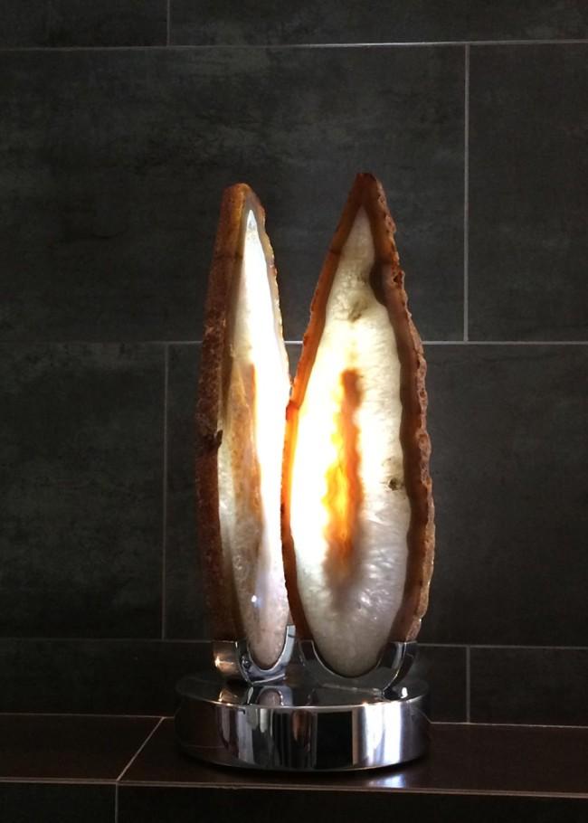 Spirit Flame - Brazilian Agate, Stainless Steel, Lights Sculpture by Dorit Schwartz
