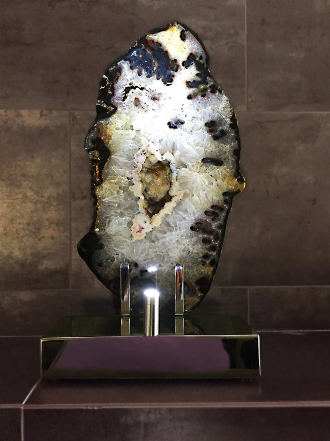 Stardust - Brazilian Agate, Stainless Steel, Lights Sculpture by Dorit Schwartz