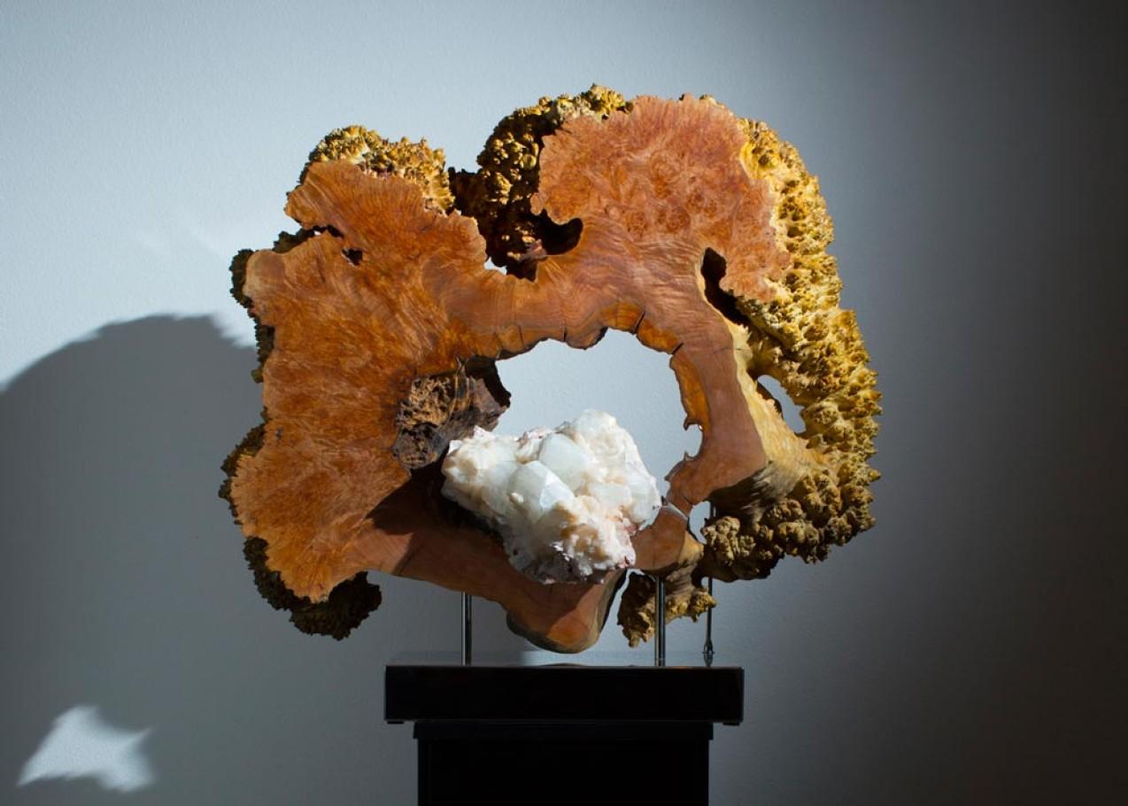 Venus de Milo - Indian Apophyllite & Stilbite, Burl Maple Wood, Stainless Steel, Lights Sculpture by Dorit Schwartz