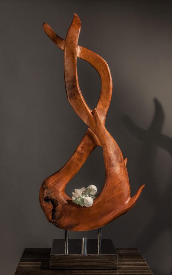 Infinite Energy - Mahoni Wood Apophyllite Crystal, Stilbite & Scolecite Sculpture by Dorit Schwartz