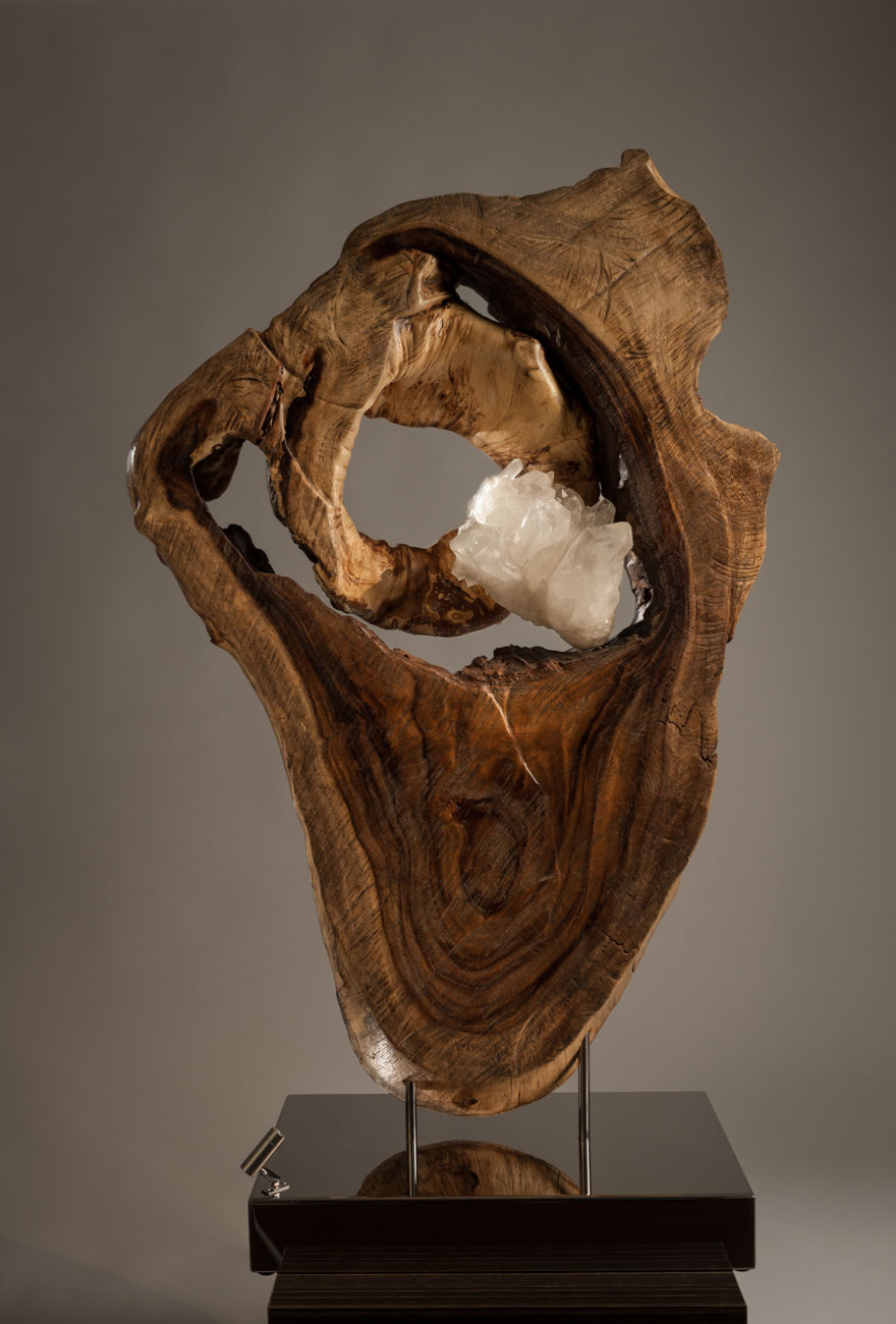 Beating Heart - Organic, Acacia Wood, White Quartz Crystal Sculpture with a Stainless Steel Base and Lights by Fine Artist Dorit Schwartz - Las Vegas