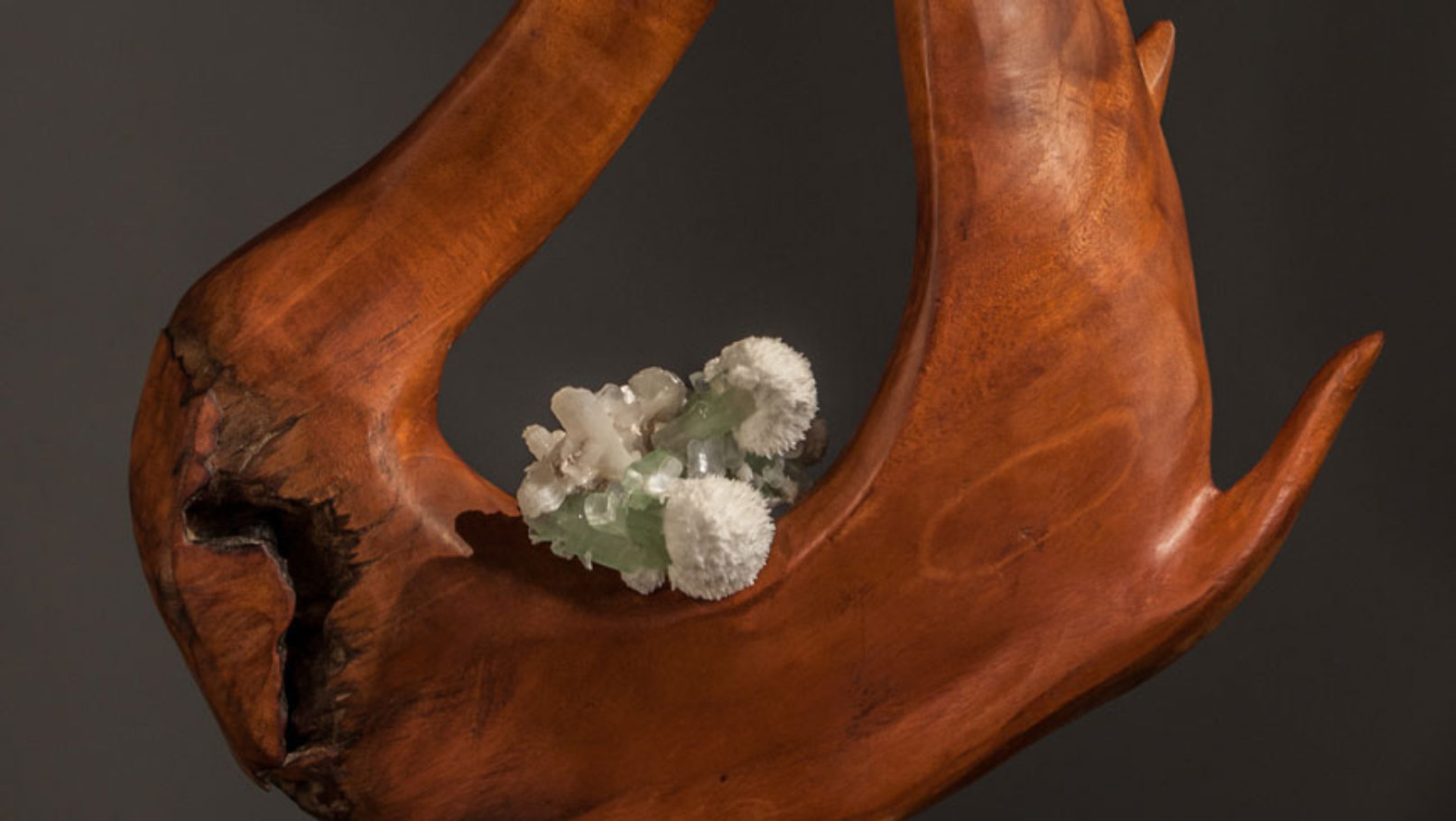 Infinite Energy - Mahoni Wood Apophyllite Crystal, Stilbite & Scolecite Sculpture by Dorit Schwartz