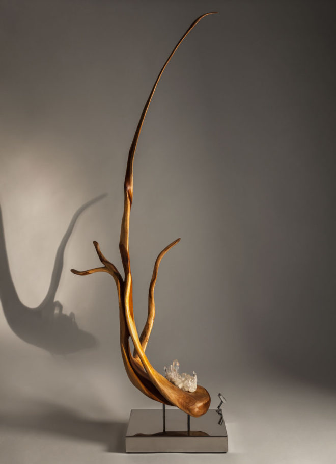 Lotus | Indonesian Rosewood & Quartz Sculpture | Dorit Schwartz Sculptor