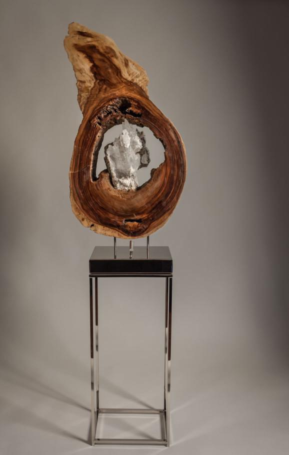 Strength of Motion | Selenite & Wood Sculpture | Dorit Schwartz Sculptor