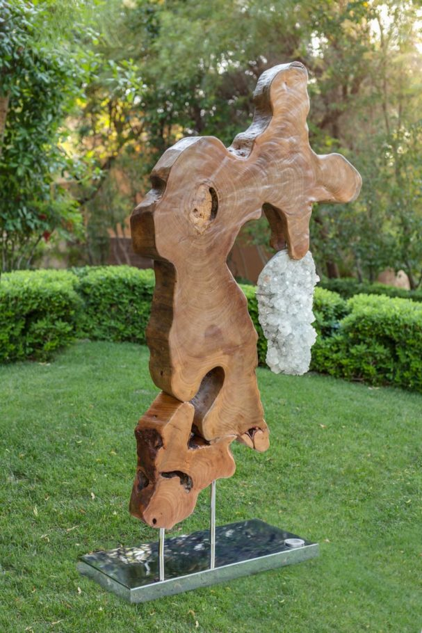 Tiny Dancer II - Organic, Pipal Wood, Apophyllite Sculpture with a Stainless Steel Base and Lights by Fine Artist Dorit Schwartz - Las Vegas