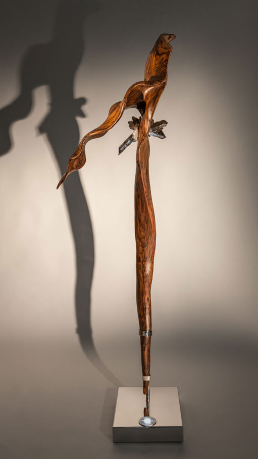 Drifting - Organic Indonesian Rosewood and Smokey Quartz Sculpture with a Stainless Steel Base and Lights by Fine Artist Dorit Schwartz – Las Vegas