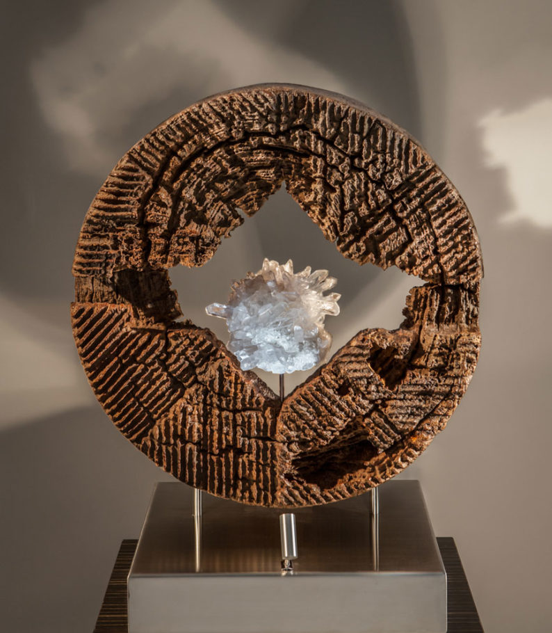 Energy in Motion - Organic Reclaimed Mortar Wood and Aragonite Sculpture with a Stainless Steel Base and Lights by Fine Artist Dorit Schwartz – Las Vegas